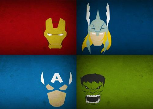THE AVENGERS - MINIMAL TEAM HEADS - Landscape canvas print - self adhesive poster - photo print